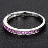 Pave Pink Sapphire Wedding Band Half Eternity Anniversary Ring 14K White Gold - Lord of Gem Rings - 3