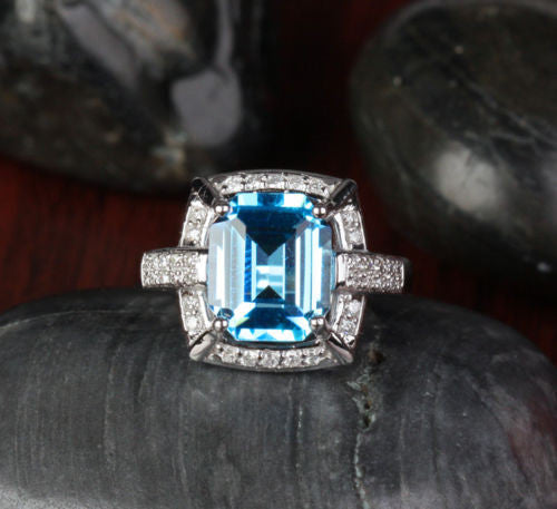 Emerald Cut Blue Topaz Engagement Ring  Diamond Wedding 14k White Gold- 3.87ct - Lord of Gem Rings - 1