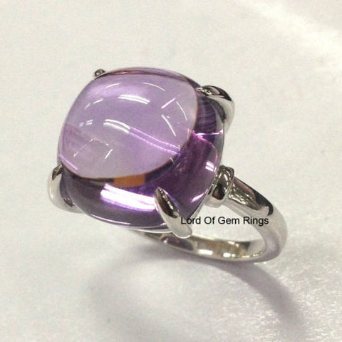 Cushion Amethyst Engagement Ring 14K White Gold Solitaire 12mm - Lord of Gem Rings - 1