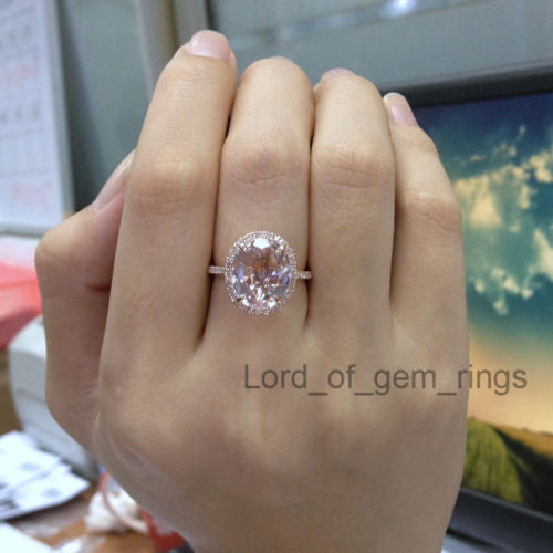 Ready to Ship - Oval Morganite Engagement Ring Pave Diamond Wedding 14K Rose Gold 10x12mm: 14KR-OMorg-Halo - Lord of Gem Rings - 1