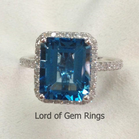 Emerald Cut london Blue Topaz Engagement Ring Pave Diamond Wedding 14K White Gold 8x10mm - Lord of Gem Rings - 2