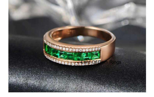 Natural Princess Emerald Diamond Wedding Band Half Eternity Anniversary Ring 18K Rose Gold  VVS/G Channel - Lord of Gem Rings - 1