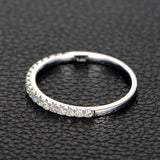 French Pave Moissanite Wedding Band Half Eternity Anniversary Ring 14K White Gold - Lord of Gem Rings - 2