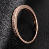 Pave Diamond Wedding Band Half Eternity Anniversary Ring 14K Rose Gold - Milgrain - Lord of Gem Rings - 5