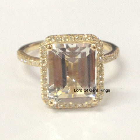 Emerald Cut White Topaz Engagement Ring Pave Diamond Wedding 14K Yellow Gold 8x10mm - Lord of Gem Rings - 1