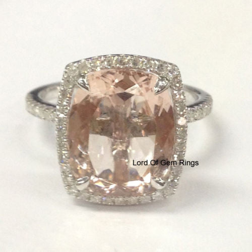 Cushion Morganite Engagement Ring Pave Diamond 14K White Gold 10x12mm - Lord of Gem Rings - 2