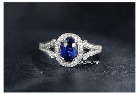 Oval Sapphire Engagement Ring Pave VVS Diamond Wedding 14K White Gold - Lord of Gem Rings - 1