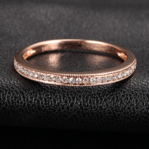 Pave Diamond Wedding Band Half Eternity Anniversary Ring 14K Rose Gold - Milgrain - Lord of Gem Rings - 1