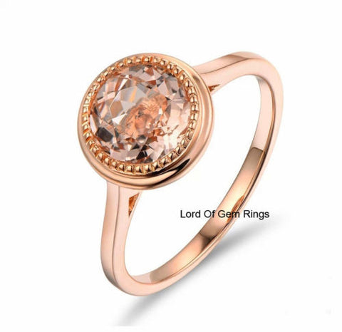 Ready to Ship - Round Morganite Engagement Ring Diamond 14K Rose Gold Bezel 7mm - Lord of Gem Rings - 1