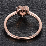 Round Moissanite Engagement Heart Shaped 14K Rose Gold 1.5mm - Lord of Gem Rings - 2