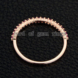 Pink Sapphires Wedding Band Half Eternity Anniversary Ring 14K Rose Gold - Lord of Gem Rings - 2