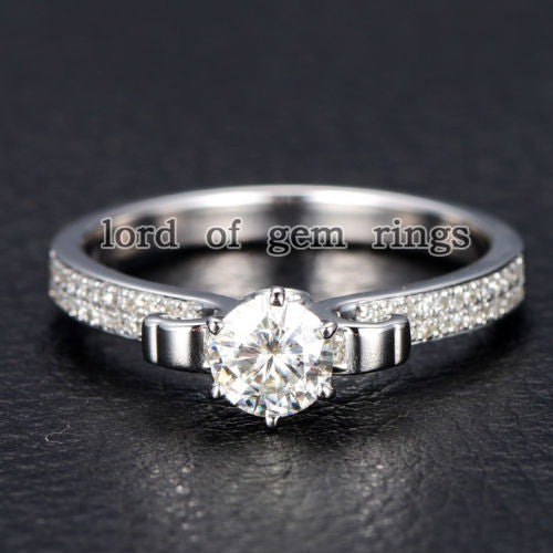 Round Moissanite Engagement Ring Pave Diamond Wedding 14K White Gold 5mm - Lord of Gem Rings - 1