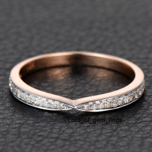 Pave Diamond Wedding Band Half Eternity Anniversary Ring 14K Rose Gold Unique Symmetrical - Lord of Gem Rings - 1