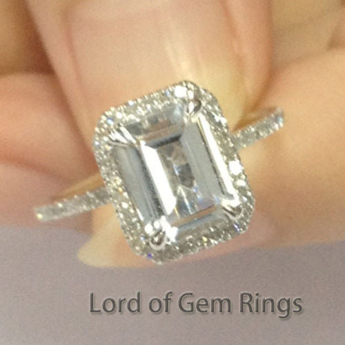 Emerald Cut White Topaz Engagement Ring Pave Diamond Wedding 14K Rose Gold 6x8mm Claw Prongs - Lord of Gem Rings - 1