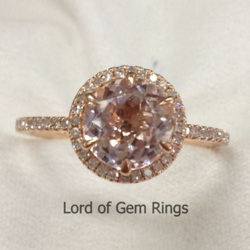 Reserved for Justin, Round Morganite Diamond Engagement Ring 14K Rose Gold 8mm 1st payment - Lord of Gem Rings - 1