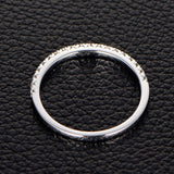 French Pave Moissanite Wedding Band Half Eternity Anniversary Ring 14K White Gold - Lord of Gem Rings - 3