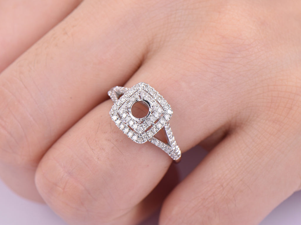 $719 Diamond Engagement Semi Mount Ring 14K White Gold Round – Lord ...