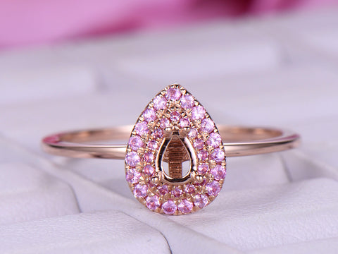 Pink Sapphire Double Halo  Semi Mount Ring 14K Rose Gold Pear 3x4.5mm