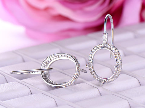 Diamond Semi Mount Earrings 14K White Gold Oval 10x12mm