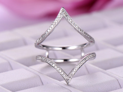 Pave Diamond Chevron Ring Guard 14k White Gold symmetrical