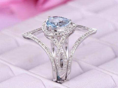 Pear Aquamarine Ring Passionate Love Sets Diamond Chevron Ring Guard 14k Gold 6x8mm