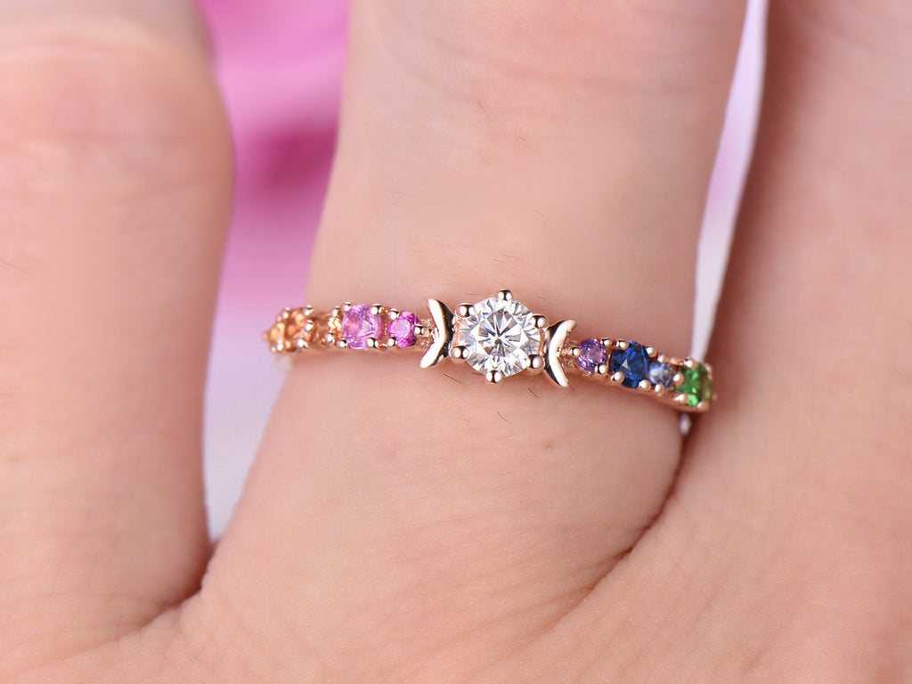 $359 Round Moissanite Engagement Ring Rainbow Accent Gemstones 14K ...