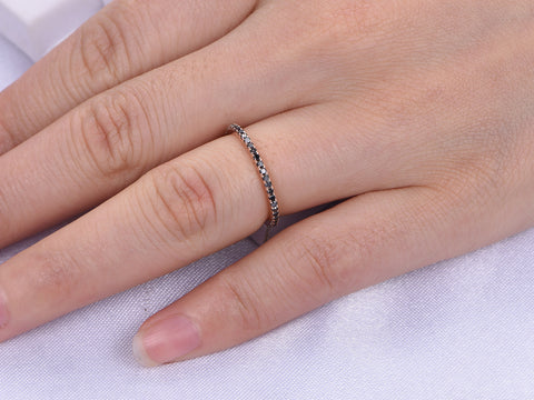 Black Diamond Wedding Band Eternity Anniversary Ring 14K Rose Gold
