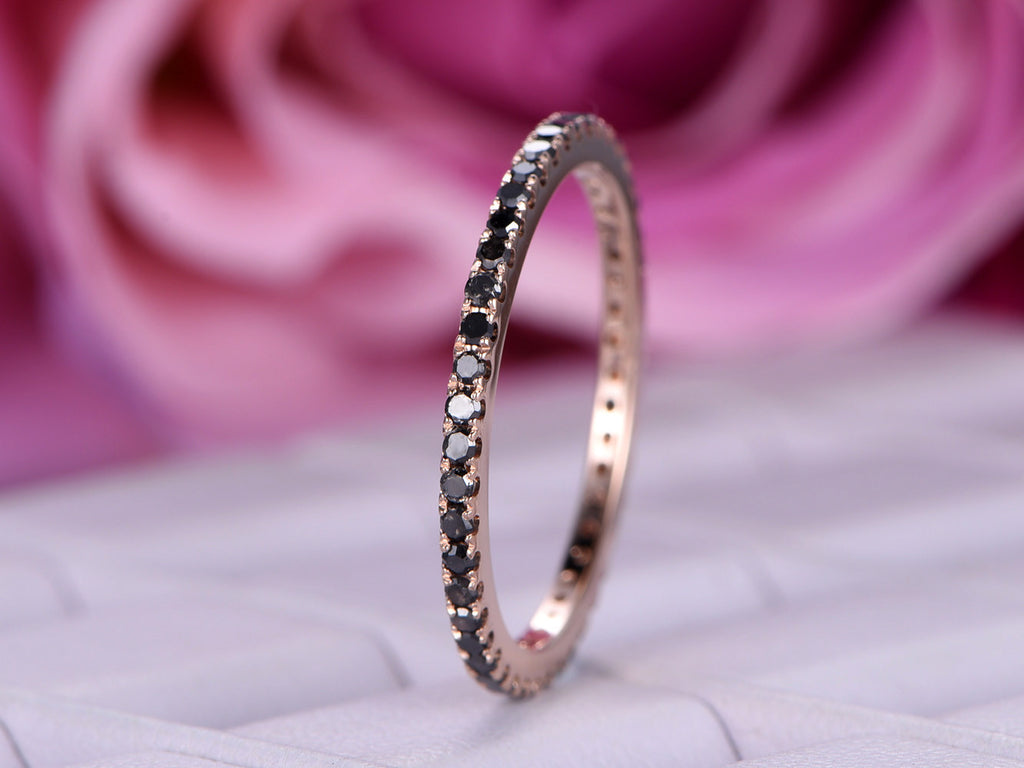 $299 Black Diamond Wedding Band Half Eternity Anniversary Ring 14K ...