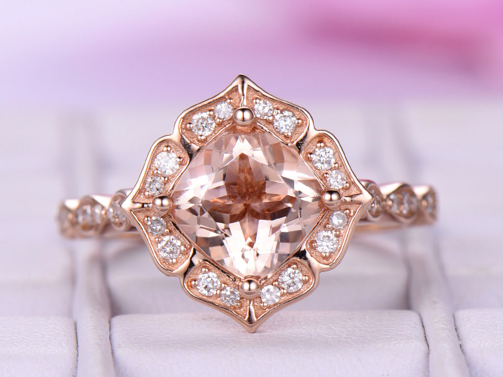 18k Rose Gold Cushion Morganite Engagement Ring Morganite Cathedral Ring Floral Halo Ring Vintage 7mm