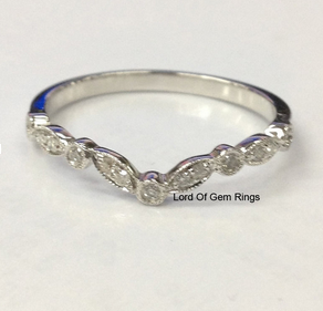 Ready to Ship Diamond Wedding Band Half Eternity Anniversary Ring 14K White Gold Art Deco Antique - Lord of Gem Rings - 1