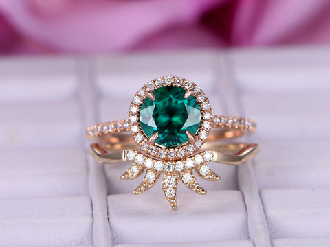 Round Emerald Engagement Ring Sets Diamond Tiara Wedding 14K Rose/Yellow Gold 7mm