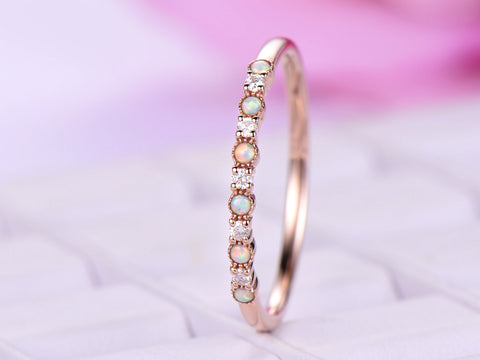 Opal Wedding Band.Opal Diamond Wedding Band Half Eternity Anniversary Ring 14k Rose Gold