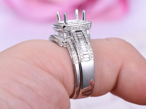Diamond Engagement Ring Semi Mount Bridal Sets Pave Diamond Wedding 14K White Gold Setting 9mm Round