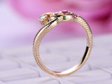 Moissanite / Ruby / Tsavorite Snake Ring 14K Yellow Gold