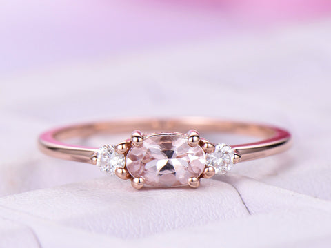 Dainty Oval Morganite Engagement Ring Accent diamonds 14K Rose Gold 4x6mm