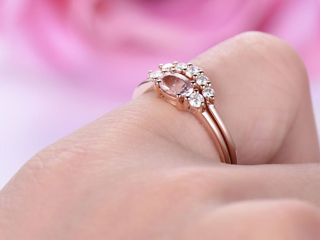 $529 Dainty Oval Morganite Engagement Ring Bridal Sets 14K Rose Gold ...