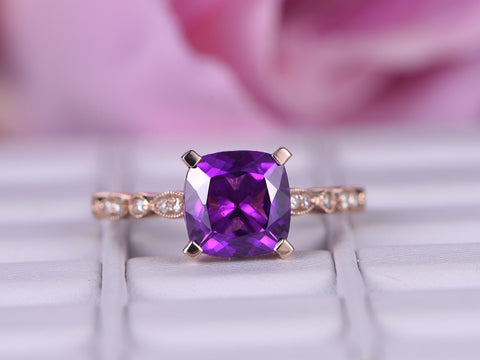 Cushion Amethyst Engagement Ring Pave Diamond Wedding 14k Rose Gold 8mm