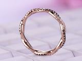 Black/Clear Diamond Wedding Band Eternity Infinite Love Ring 14K Rose Gold