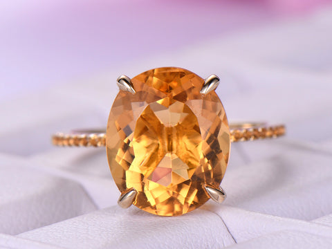 Oval Citrine Engagement Ring Accent Pave Citrine 14K Yellow Gold 10x12mm