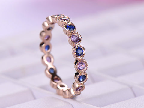 Bezel Set Blue Sapphire/Amethyst Wedding Band Eternity Anniversary Ring 14K Rose Gold