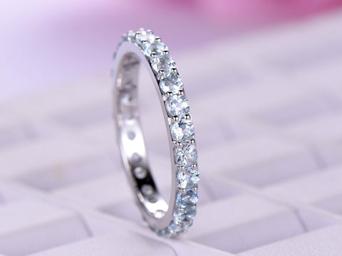 Aquamarine Wedding Band Eternity Anniversary Ring 14K White Gold 2.5mm