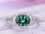 Oval Alexandrite Engagement Ring Pave Diamond 14K White Gold 6x8mm,Split Shank