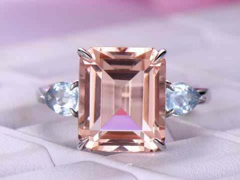 Emerald Cut Morganite Engagement Ring Side Pear Aquamarines 14K White Gold 10x12mm