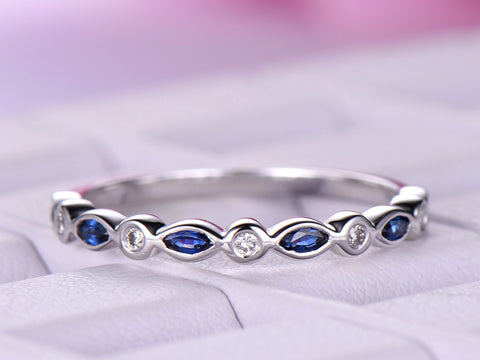 Marquise Blue Sapphire Round Diamond Wedding Band Half Eternity Ring 14K White Gold