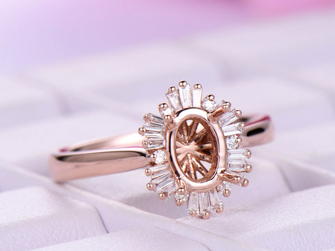 Baguette and Round Diamond Halo Semi Mount Ring 14K Rose Gold  Oval 5x7mm