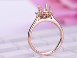 Baguette and Round Diamond Semi Mount Ring 14K Rose Gold Setting Oval 5x7mm