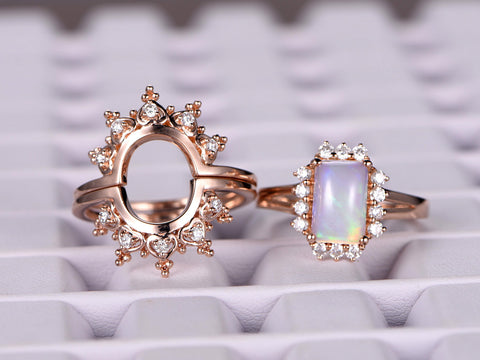 Emerald Cut Opal  Ring Bridal Sets Moissanite Tiara Wedding Ring 14K Rose Gold 7x9mm