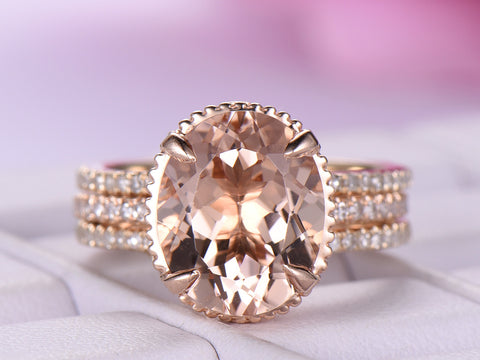 Oval Morganite Ring Forever Together Bridal Sets Contoured Matching Ring Guard 14K Gold 9x11mm