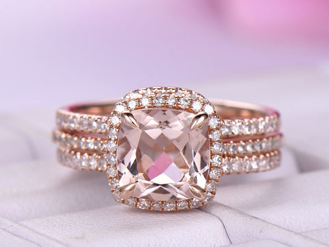 Cushion Morganite Engagement Ring Forever Together Sets Diamond Ring Guard 14K Rose Gold 7mm