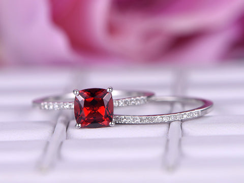 Cushion Ruby Engagement Ring Sets Pave Diamond Wedding 14K White Gold 6mm